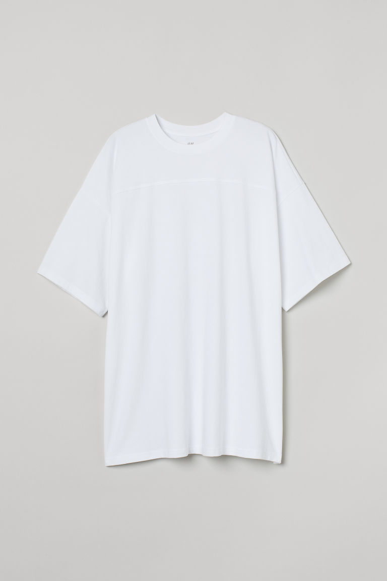 H & M - 加大碼棉質T恤 - 白色