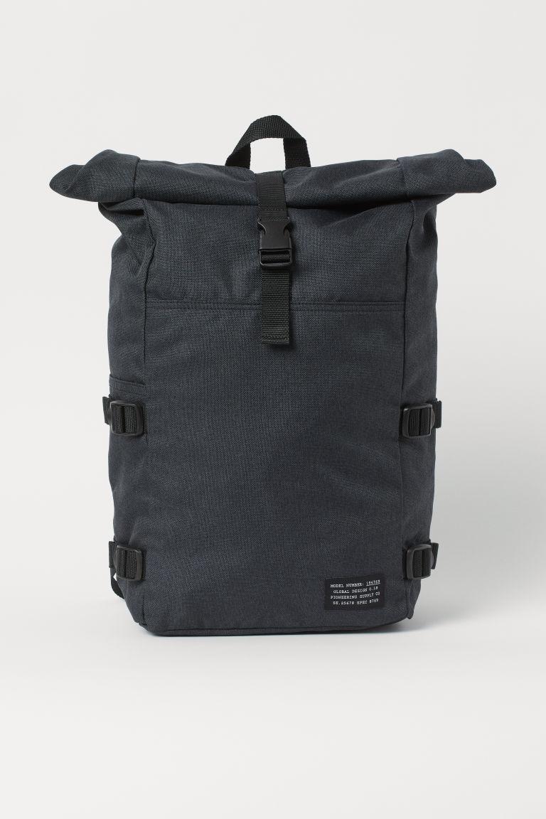 H & M - 卷口式後背包 - 黑色