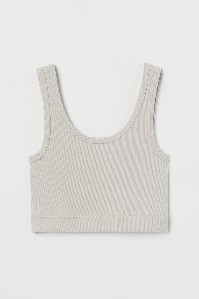 H & M - 短版上衣 - 米黃色