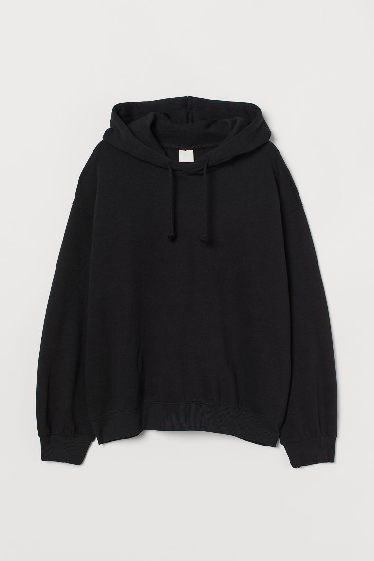 H & M - 棉質混紡連帽上衣 - 黑色
