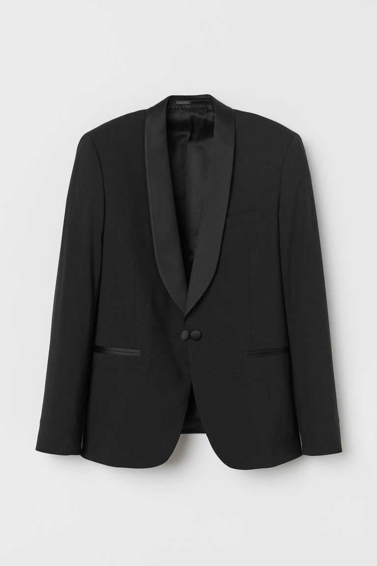 H & M - 緊身羊毛晚禮服外套 - 黑色