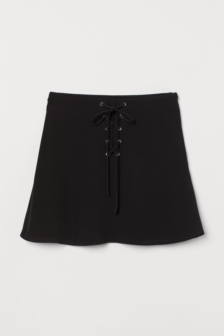 H & M - 縐紗裙 - 黑色
