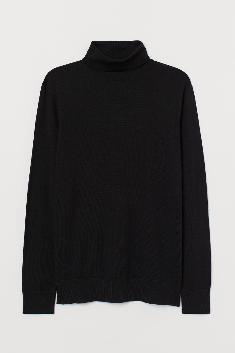 H & M - 美麗諾羊毛圓高領套衫 - 黑色