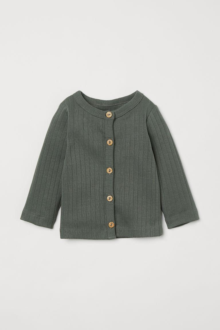 H & M - 羅紋平紋開襟衫 - 綠色