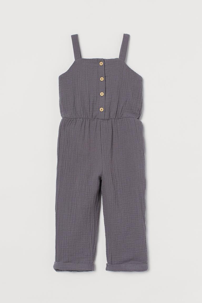 H & M - 棉質連身褲裝 - 灰色