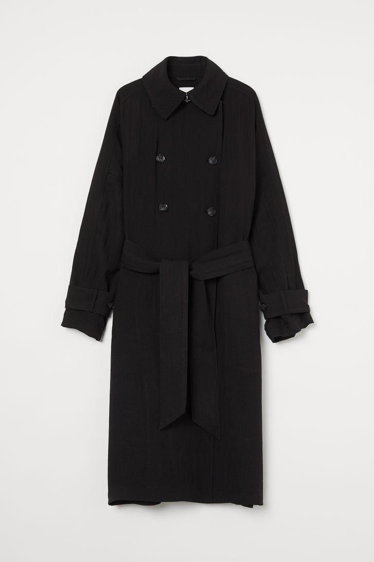 H & M - 加大碼風衣 - 黑色