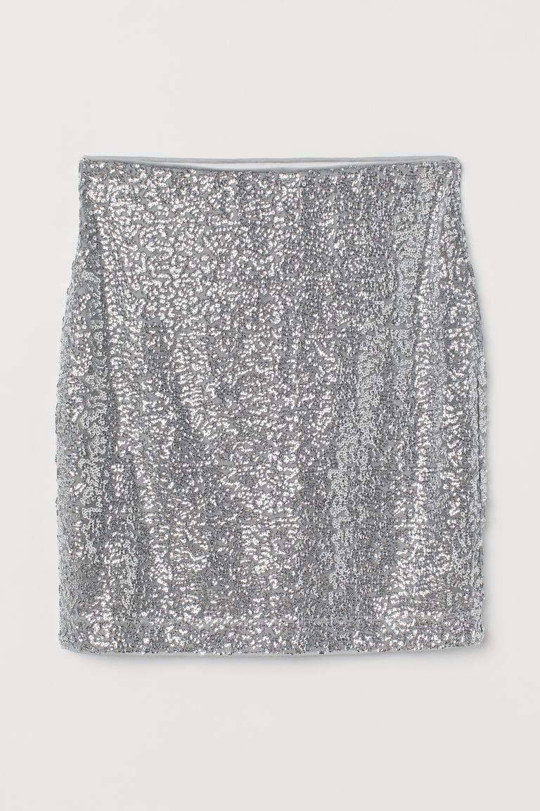 H & M - 亮感短裙 - 銀色