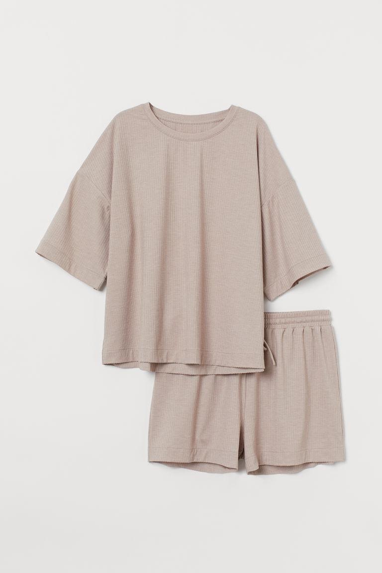 H & M - 羅紋睡衣套裝 - 米黃色