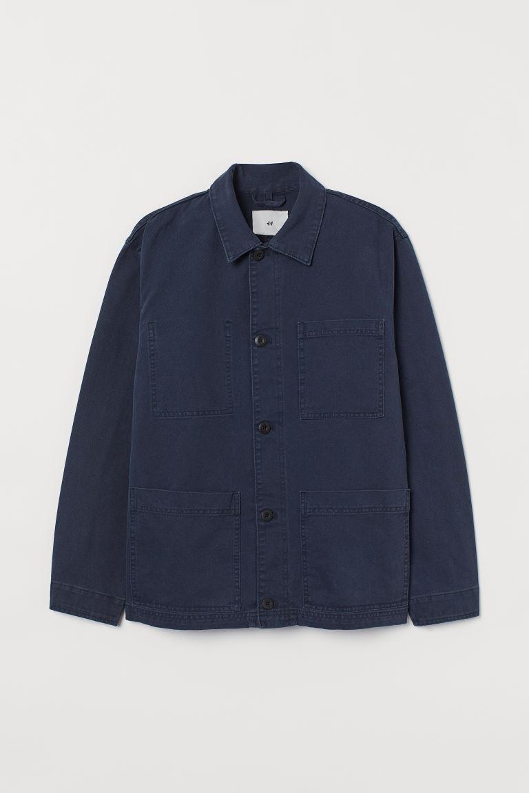 H & M - 棉質斜紋襯衫式外套 - 藍色