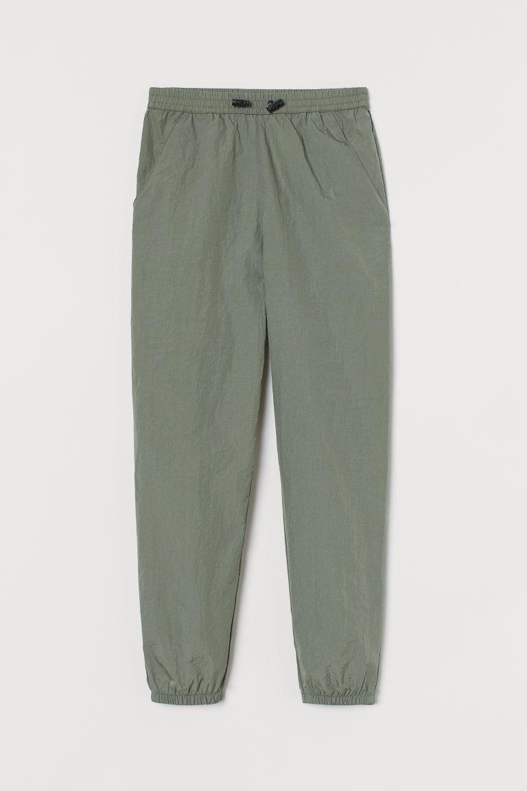 H & M - 尼龍慢跑褲 - 綠色