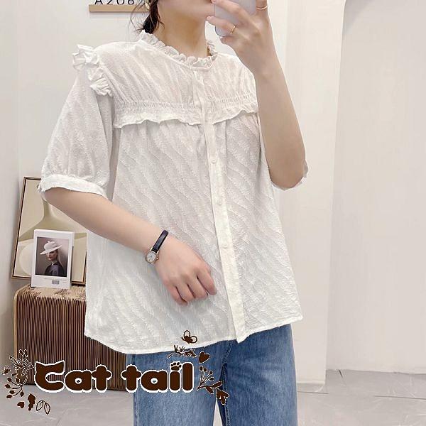 《貓尾巴》JP-03538 木耳邊立領單排扣短袖襯衫(森林系 日系 棉麻 文青 清新)