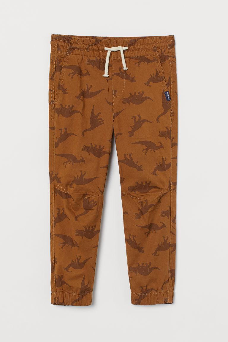 H & M - 斜紋鬆緊式長褲 - 米黃色