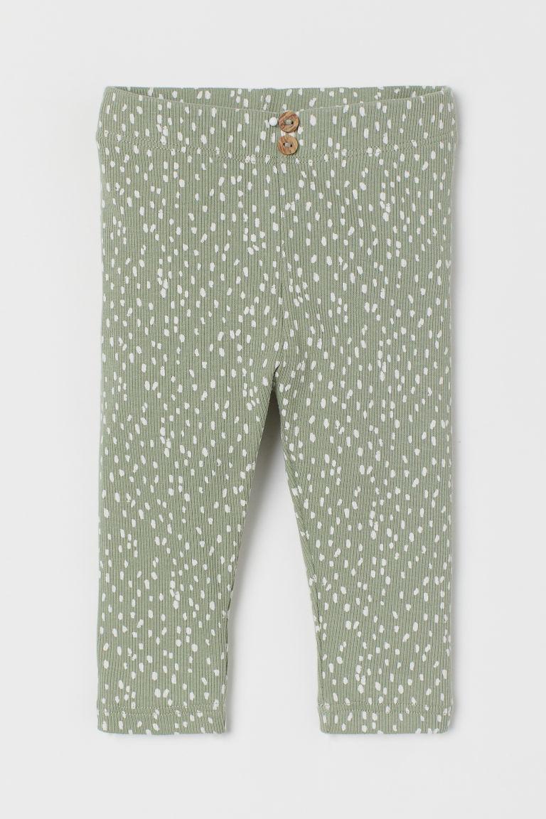 H & M - 羅紋內搭褲 - 綠色