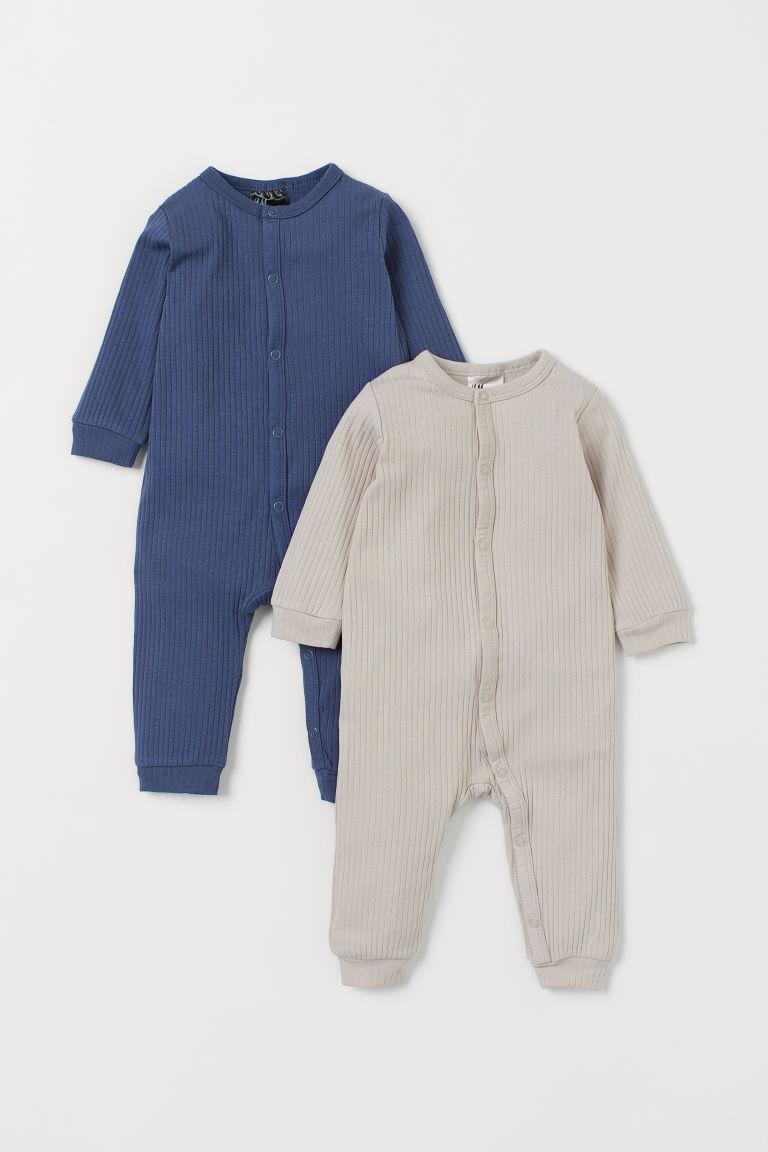 H & M - 2套入羅紋睡衣套裝 - 藍色