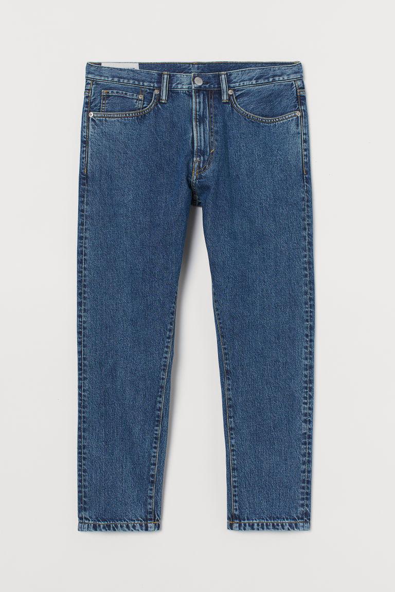 H & M - 中腰錐形九分牛仔褲 - 藍色
