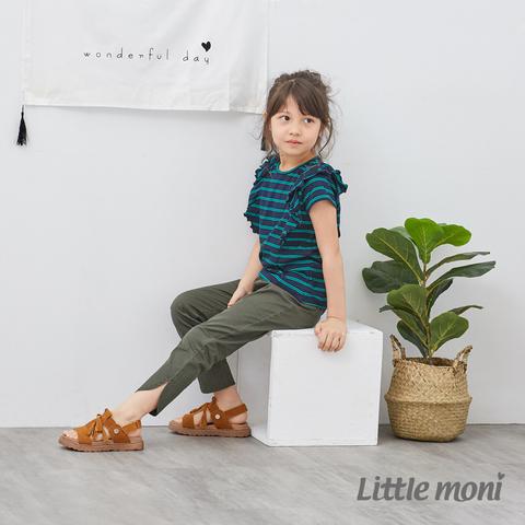 Little moni 休閒開岔彈性合身九分褲(軍綠)