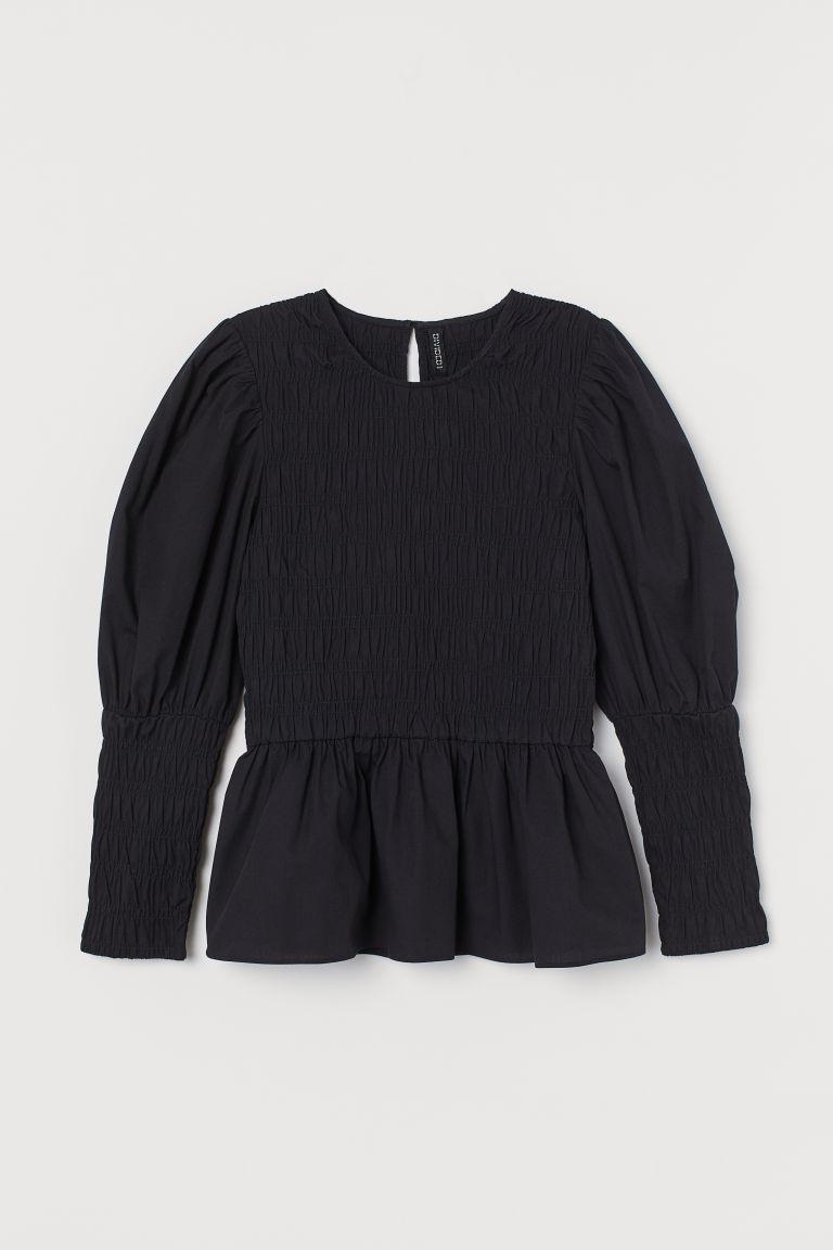 H & M - 府綢棉女衫 - 黑色