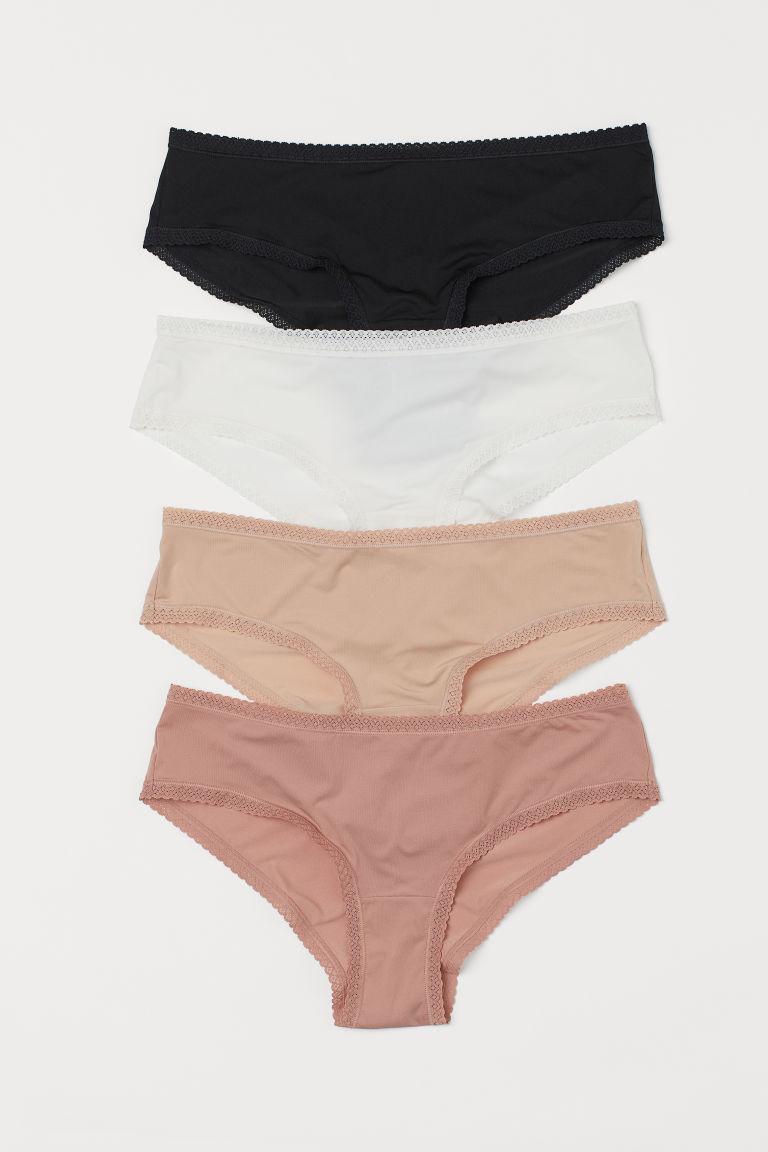 H & M - 4件入極細纖維內褲 - 粉紅色