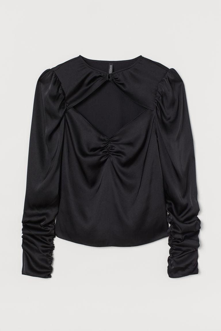 H & M - 垂墜感綢緞女衫 - 黑色