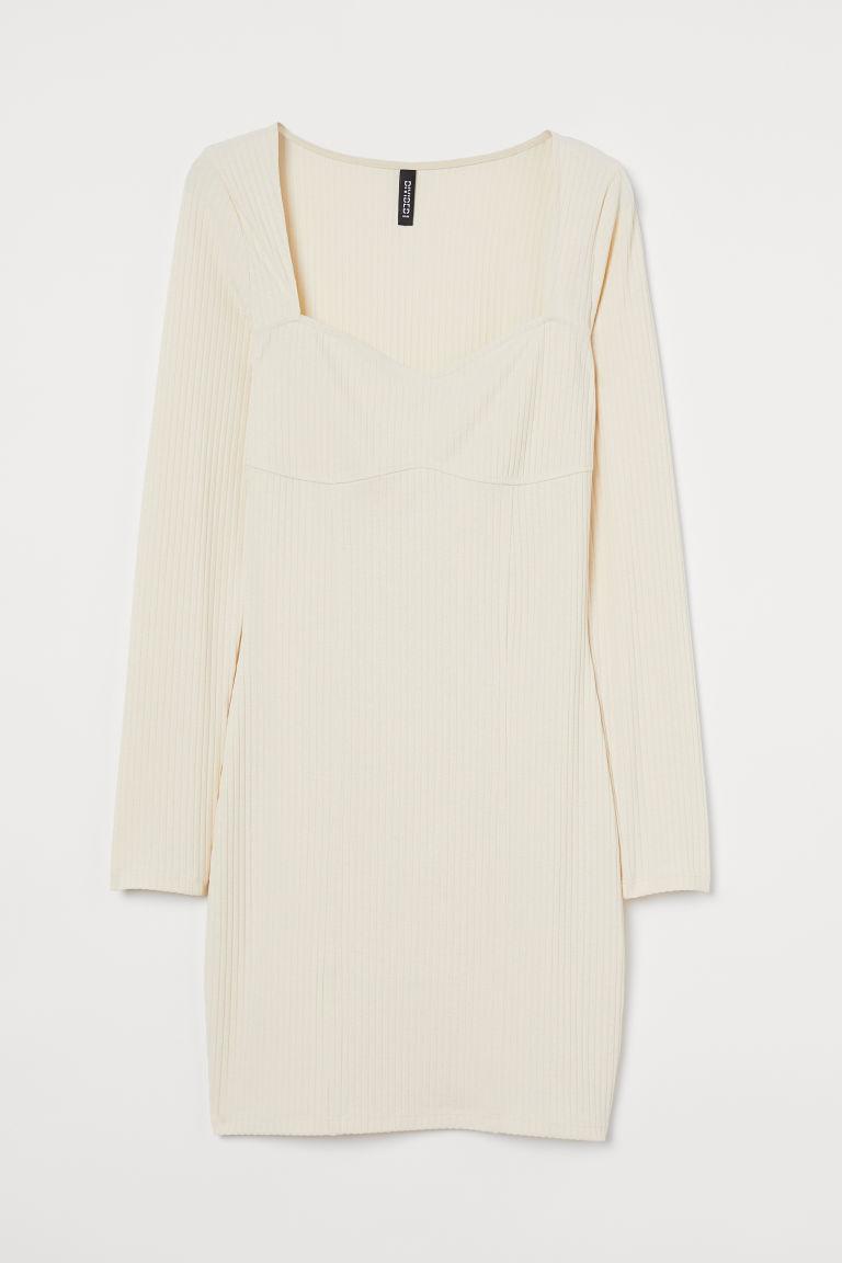 H & M - 羅紋洋裝 - 米黃色