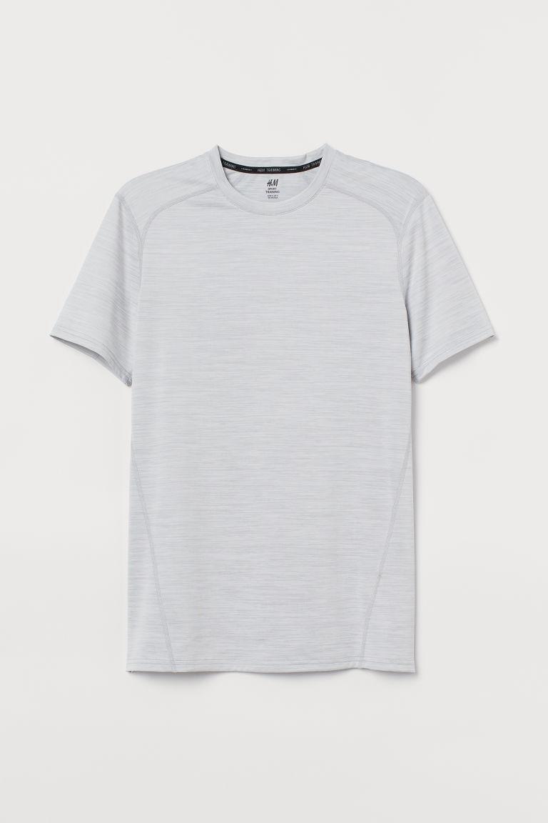 H & M - 健美合身剪裁運動上衣 - 灰色