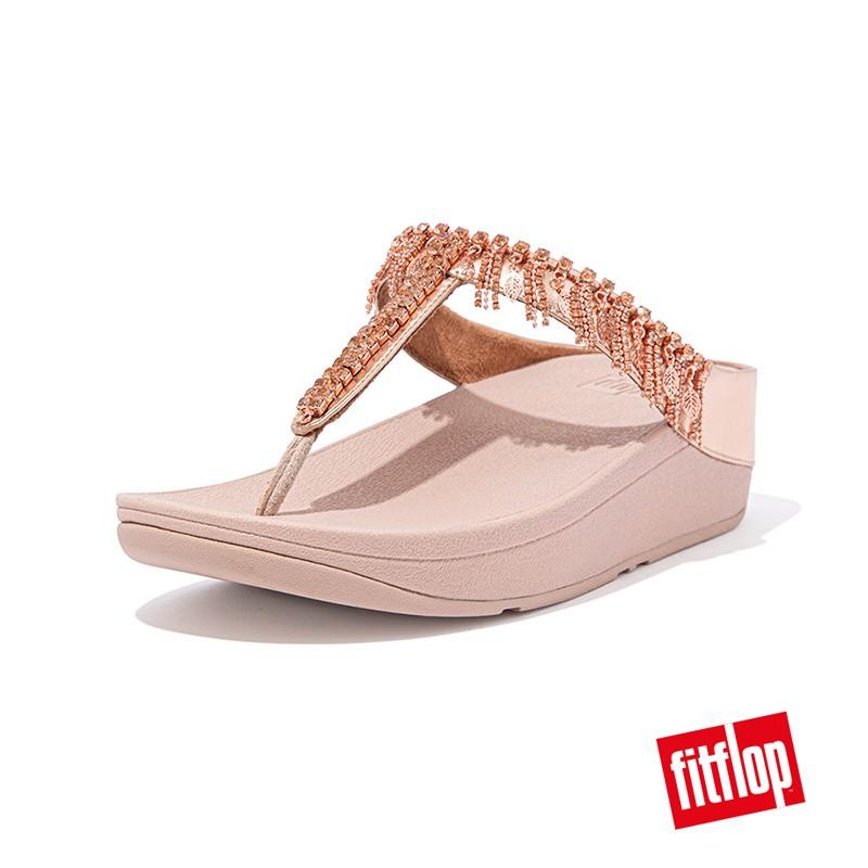 【FitFlop】女 / 閃亮金屬人造皮革夾腳涼鞋 12-12262 粉金色
