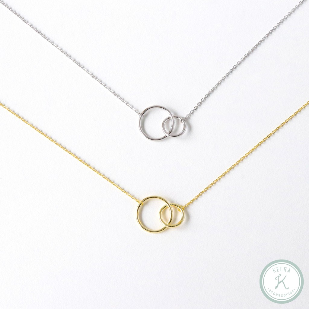 【KELRA】s925全純銀相依雙環項鍊