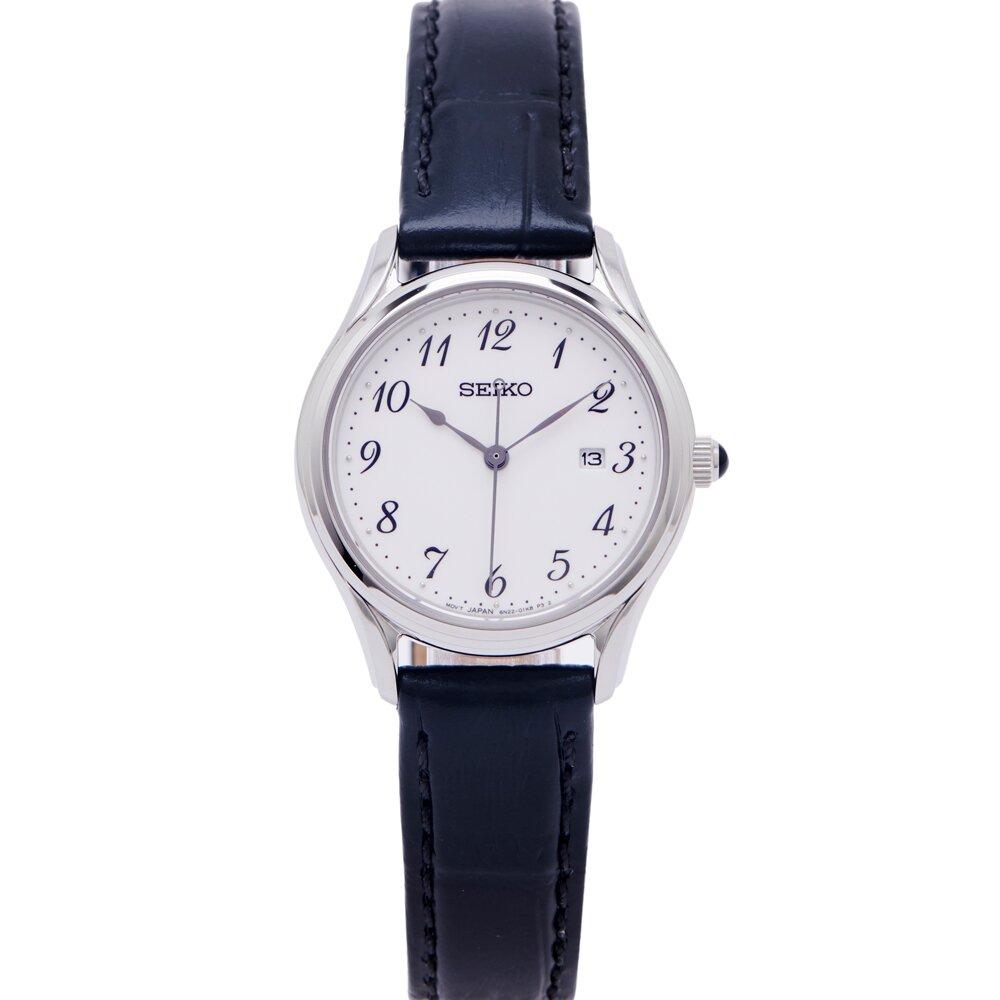 SEIKO 藍寶石水晶玻璃鏡面皮錶帶款女性手錶 (SUR639P1)-白面X黑色/28mm