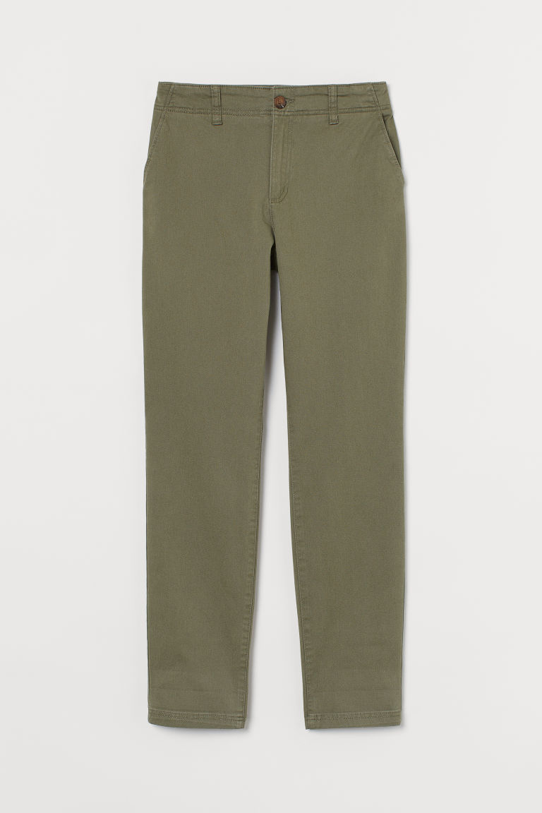 H & M - 棉質卡其褲 - 綠色