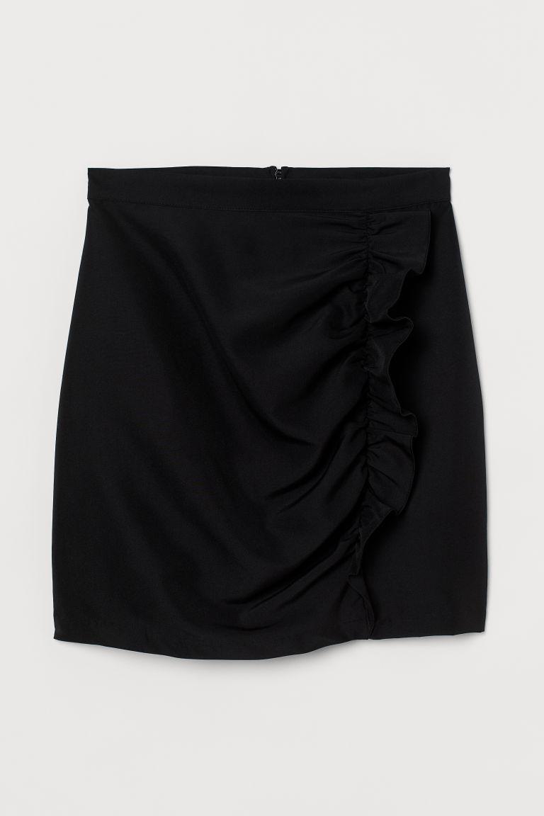 H & M - 荷葉邊短裙 - 黑色