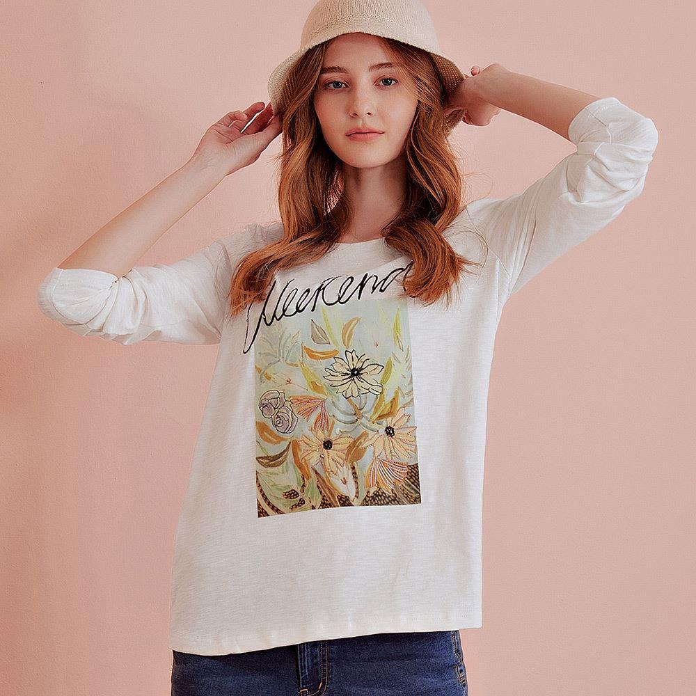OUWEY歐薇 花朵刺繡燙畫長袖上衣(白)J59102