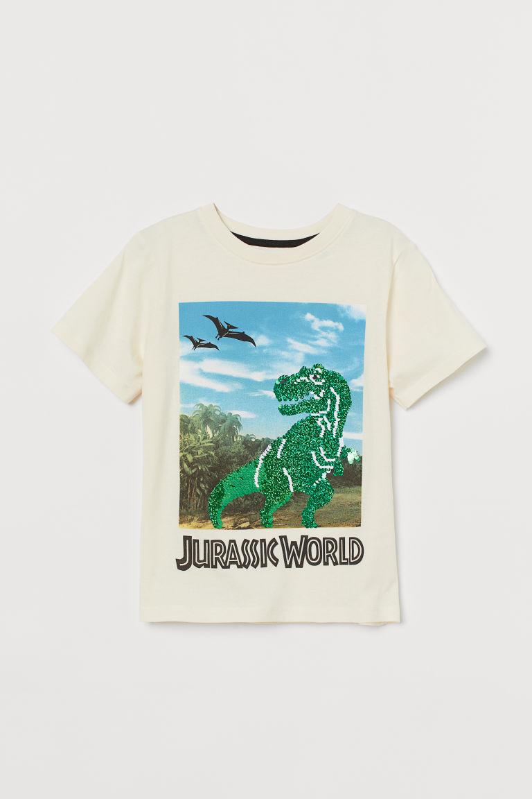 H & M - 亮片T恤 - 白色
