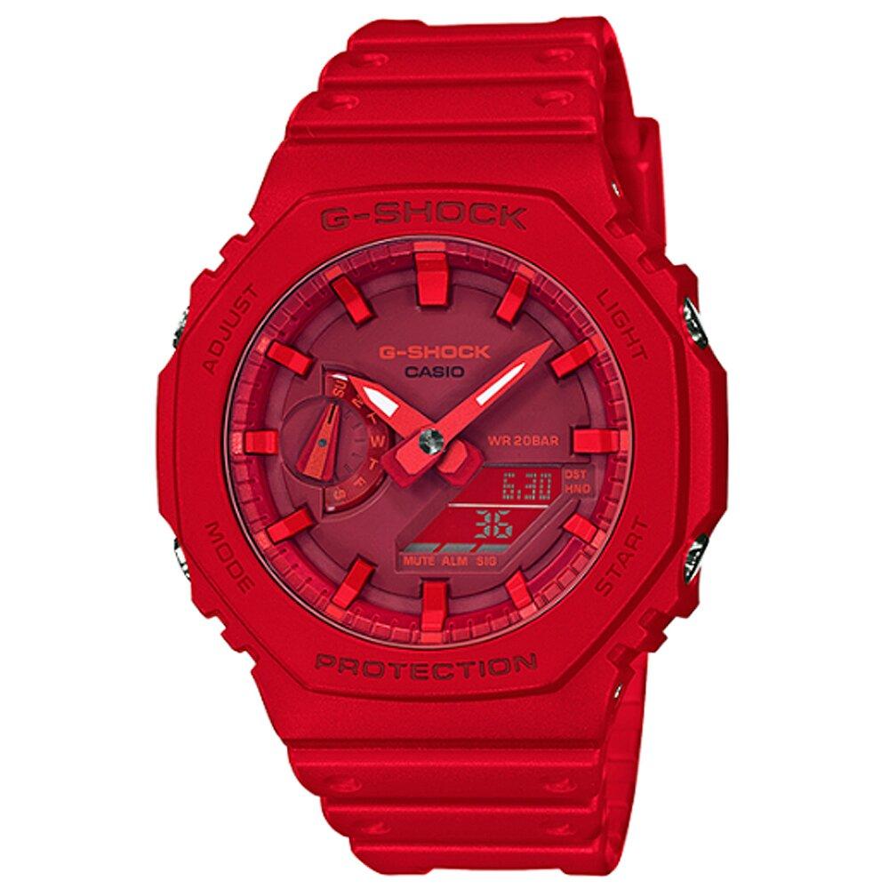 CASIO 卡西歐G-SHOCK絕對強悍八角雙顯電子錶-紅 / GA-2100-4A (台灣公司貨)