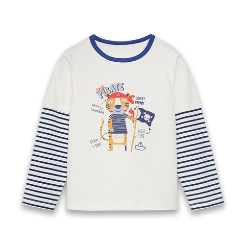 【EASY輕鬆系列】麗嬰房 海盜老虎針織棒球上衣-白色 (76cm~130cm)