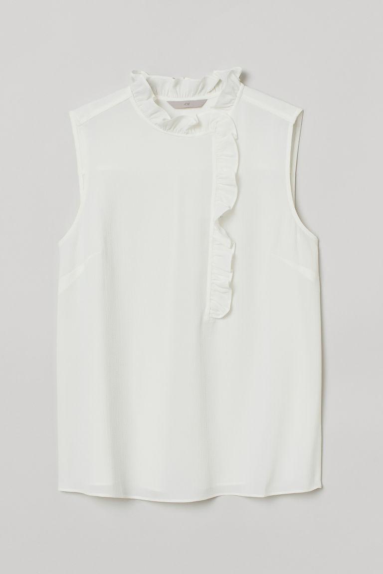 H & M - 無袖荷葉邊女衫 - 白色