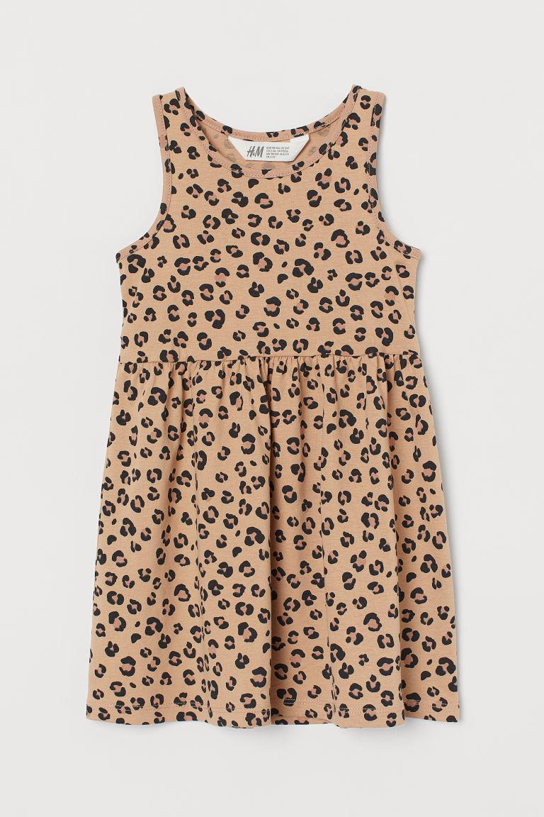 H & M - 印花平紋洋裝 - 米黃色