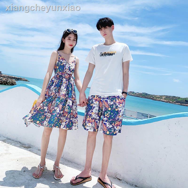 ☌❦情侶裝夏裝海邊套裝沙灘一裙一衣春裝度假連衣裙夏季2021情侶款