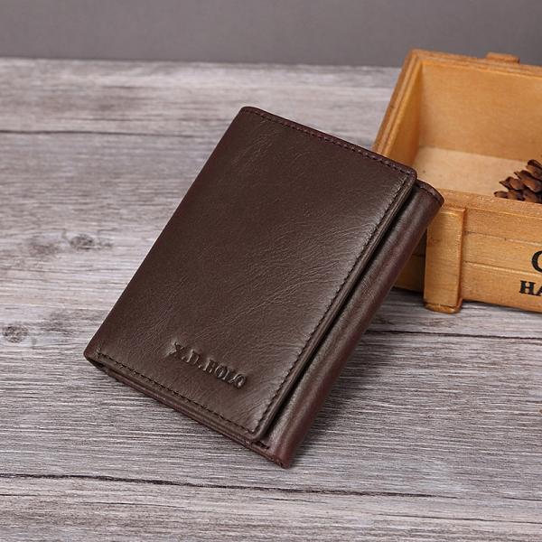 韓版豎款男錢包 復古磁釦皮夾男生卡包商務短夾 男士三折男款多卡位錢夾 零錢包男士短款錢包
