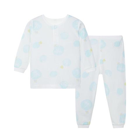 【Cloudy雲柔系列】麗嬰房 植物印花長袖兩粒扣套裝(長袖+長褲組)-白色 (76cm~130cm)