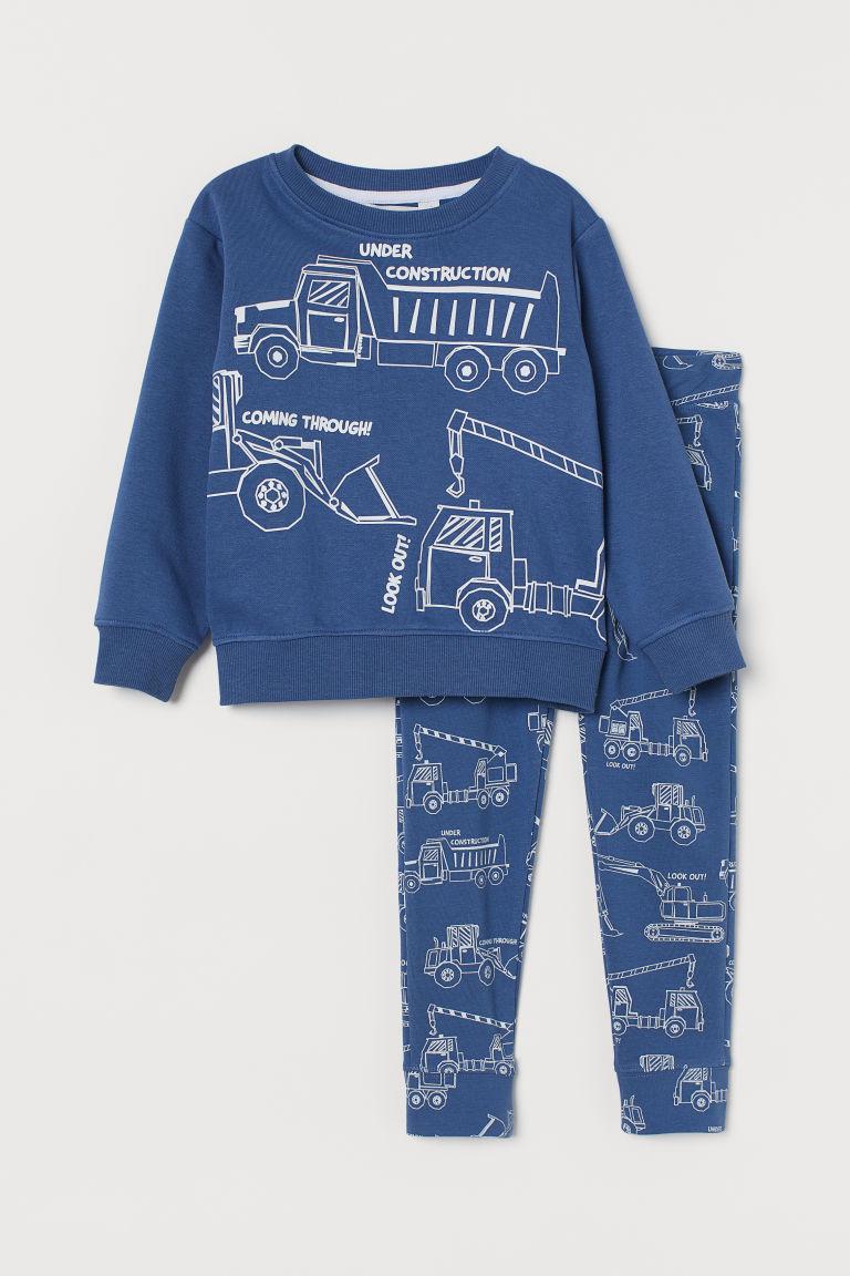H & M - 2件組圖案套裝 - 藍色