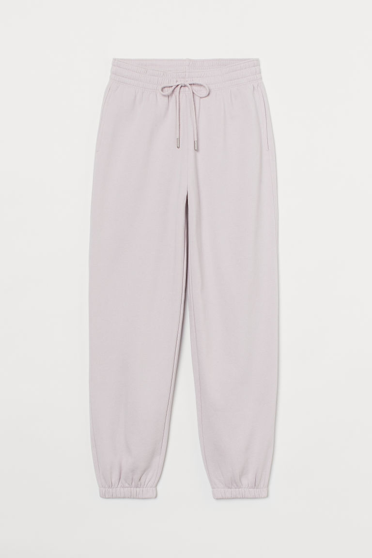 H & M - 棉質混紡運動長褲 - 粉紅色