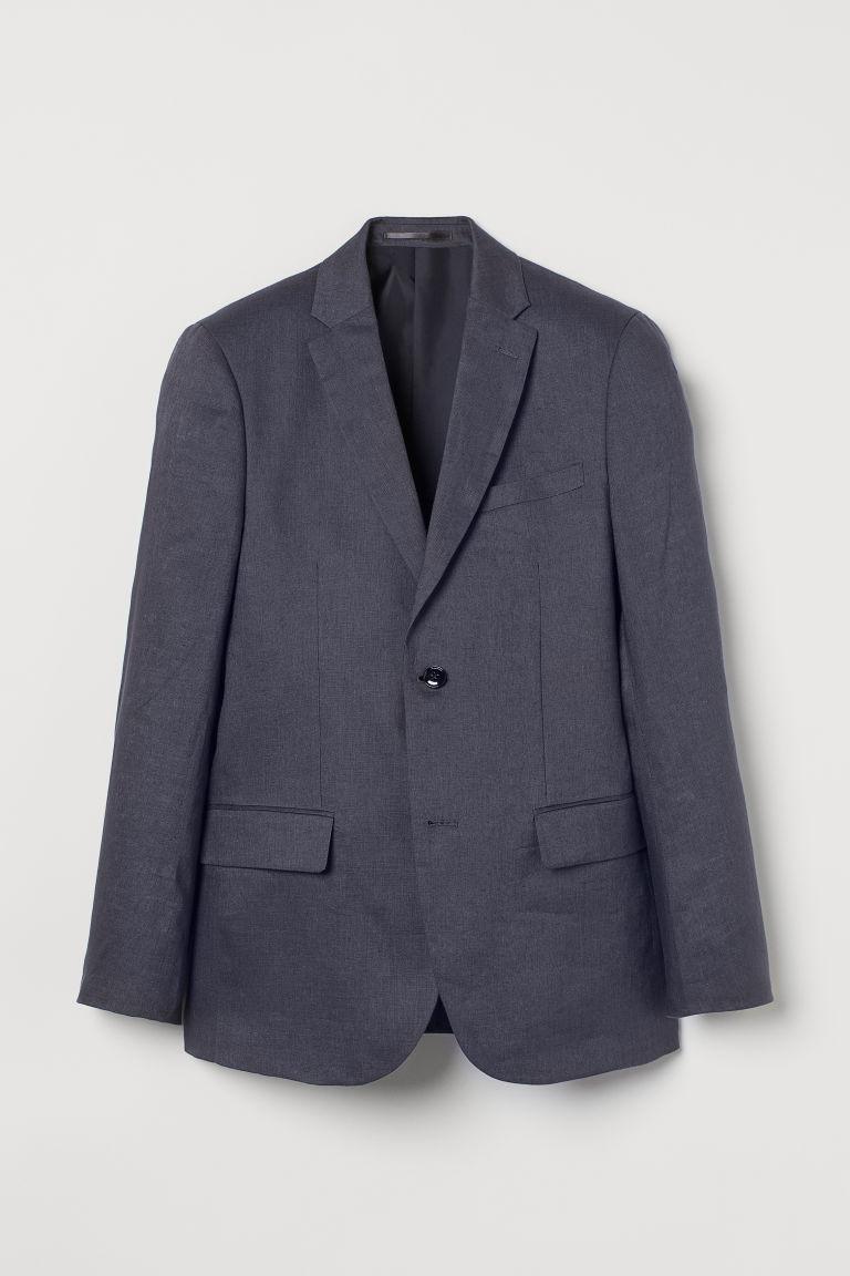 H & M - 貼身亞麻外套 - 藍色