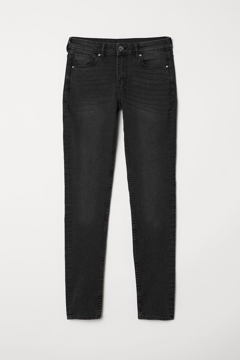 H & M - 超窄管中腰牛仔褲 - 灰色