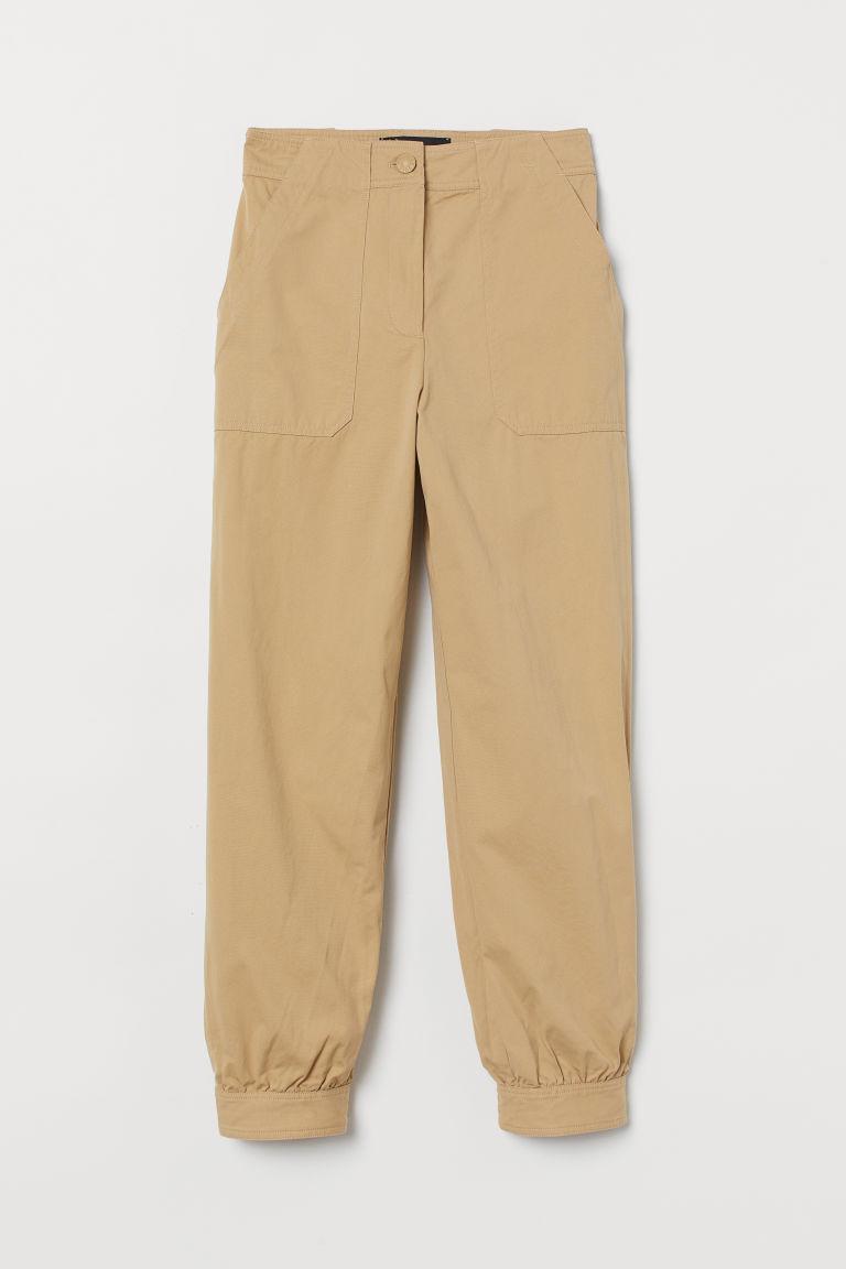 H & M - 比馬棉工作長褲 - 米黃色