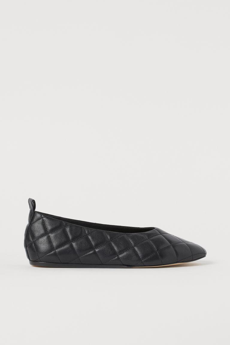 H & M - 真皮芭蕾淺口鞋 - 黑色