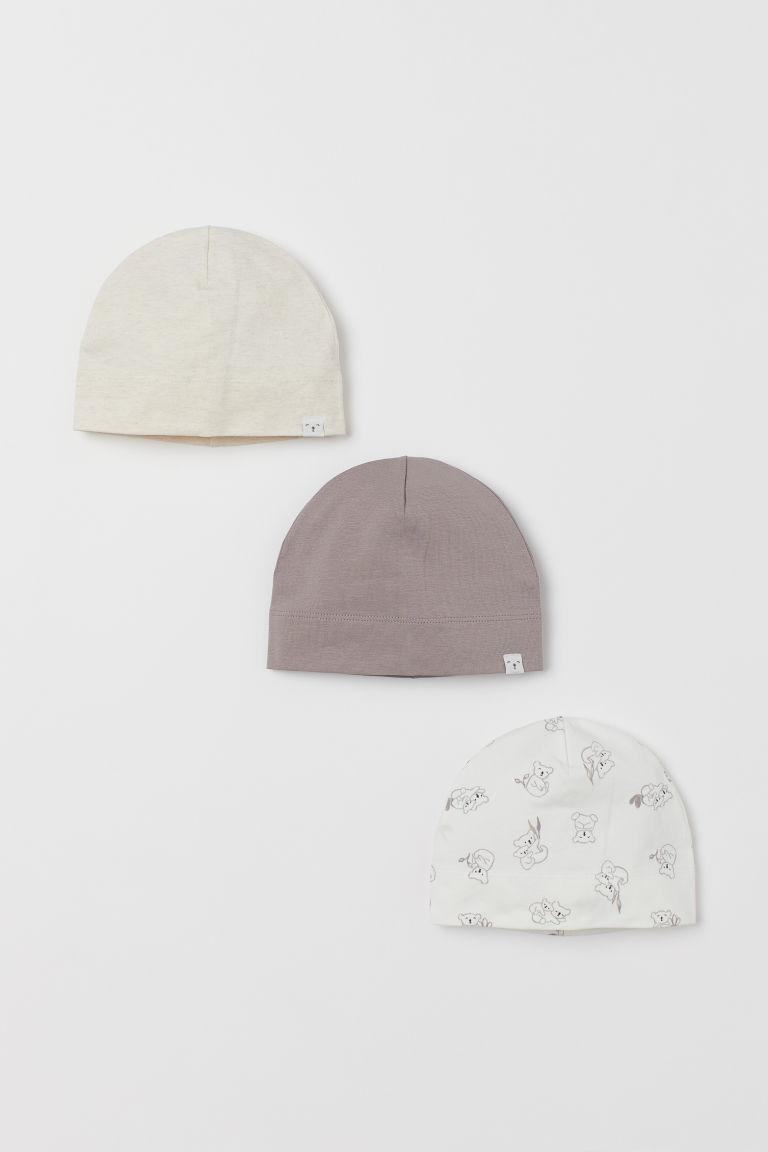 H & M - 3入裝棉質平紋帽 - 白色