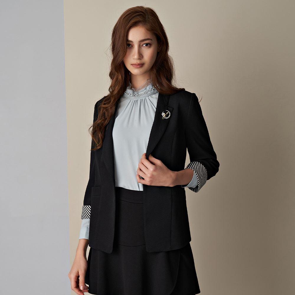 ILEY伊蕾 紋理感微彈撞色七分袖西裝外套(黑)056410