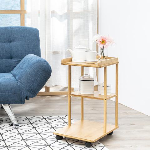 品竹生活移動式三層邊桌