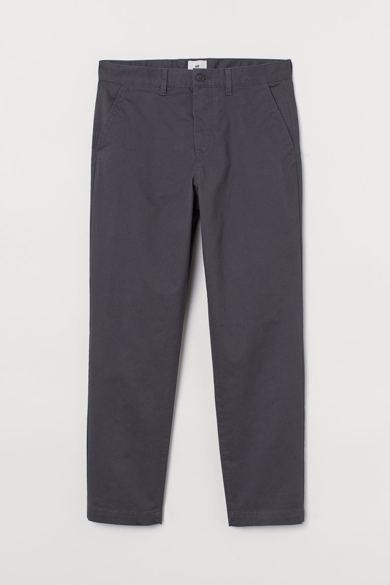 H & M - 合身棉質卡其褲 - 灰色