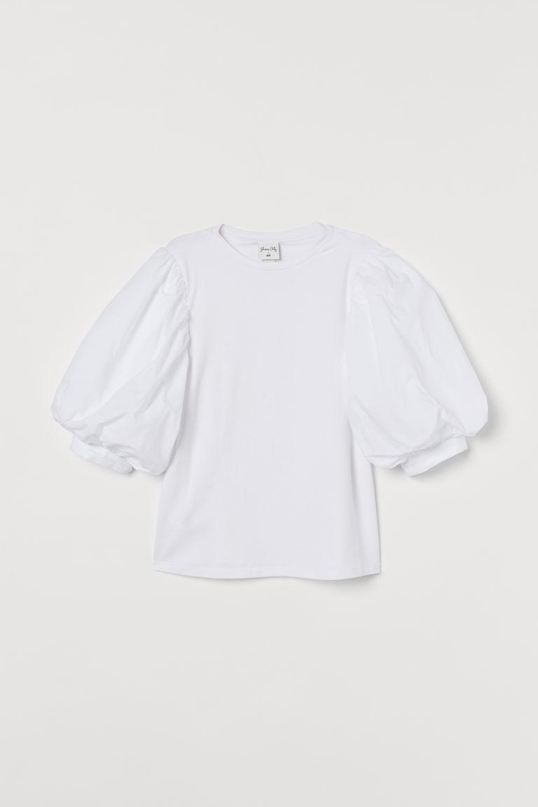 H & M - 公主袖上衣 - 白色